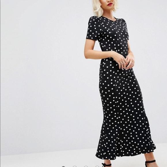 950409b6112 ASOS city maxi tea dress polka dot print